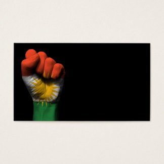 Raised Clenched Fist with Kurdish Flag Business Card