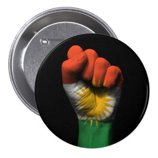 Raised Clenched Fist with Kurdish Flag 3 Inch Round Button