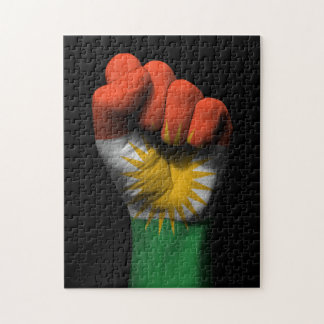 Raised Clenched Fist with Kurdish Flag Jigsaw Puzzles