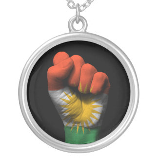 Raised Clenched Fist with Kurdish Flag Silver Plated Necklace