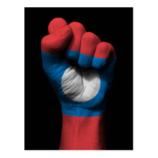 Raised Clenched Fist with Laos Flag Postcard