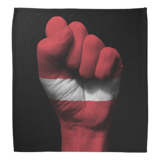 Raised Clenched Fist with Latvian Flag Bandana