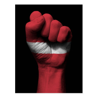 Raised Clenched Fist with Latvian Flag Postcard