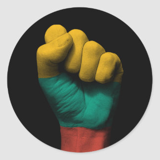 Raised Clenched Fist with Lithuanian Flag Round Sticker