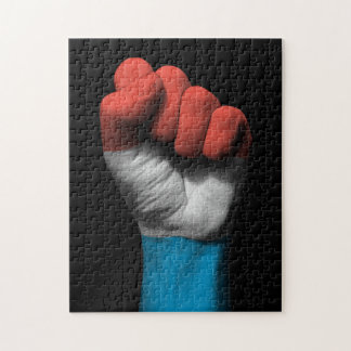 Raised Clenched Fist with Luxembourg Flag Jigsaw Puzzle