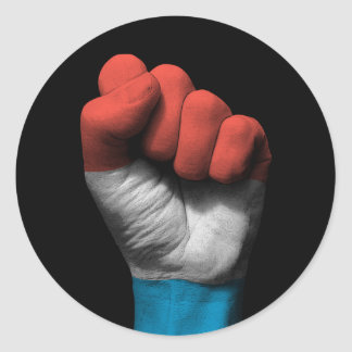 Raised Clenched Fist with Luxembourg Flag Round Sticker