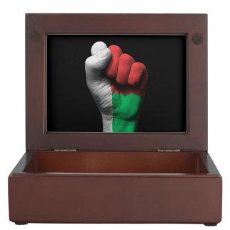Raised Clenched Fist with Madagascar Flag Keepsake Box