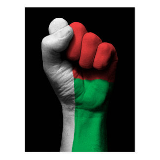 Raised Clenched Fist with Madagascar Flag Postcard
