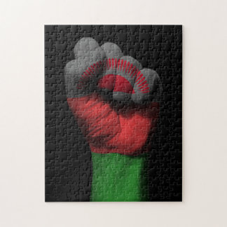 Raised Clenched Fist with Malawi Flag Puzzles