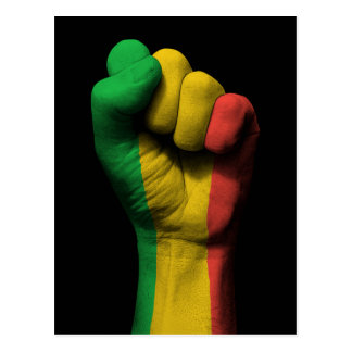 Raised Clenched Fist with Mali Flag Postcard