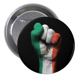 Raised Clenched Fist with Mexican Flag 3 Inch Round Button