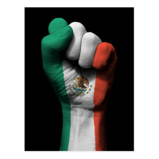 Raised Clenched Fist with Mexican Flag Postcard