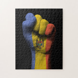 Raised Clenched Fist with Moldovan Flag Jigsaw Puzzle