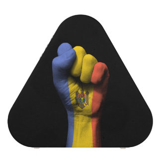 Raised Clenched Fist with Moldovan Flag Speaker