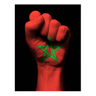 Raised Clenched Fist with Moroccan Flag Postcard