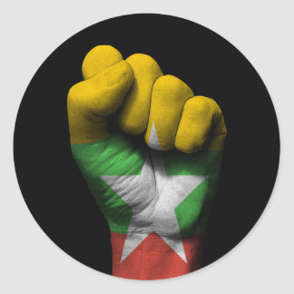 Raised Clenched Fist with Myanmar Flag Round Sticker