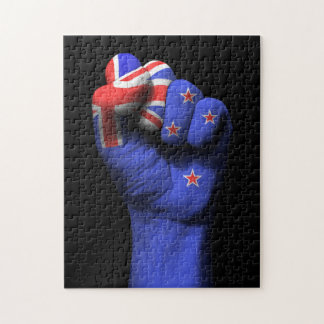 Raised Clenched Fist with New Zealand Flag Puzzles