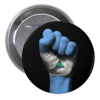 Raised Clenched Fist with Nicaraguan Flag 3 Inch Round Button