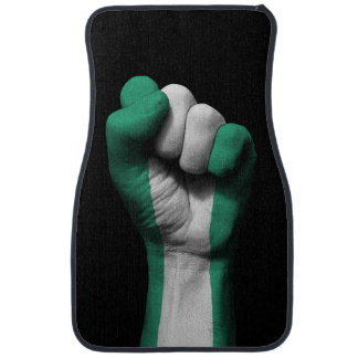 Raised Clenched Fist with Nigerian Flag Car Mat