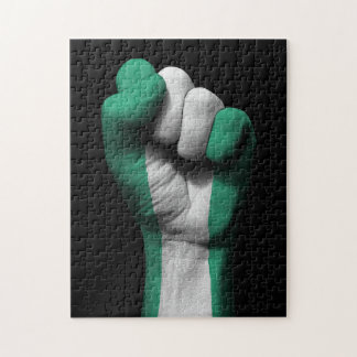 Raised Clenched Fist with Nigerian Flag Puzzle