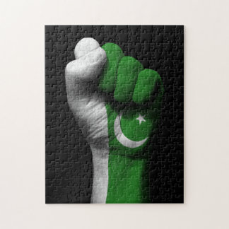 Raised Clenched Fist with Pakistani Flag Puzzle