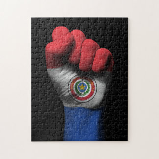 Raised Clenched Fist with Paraguay Flag Jigsaw Puzzle
