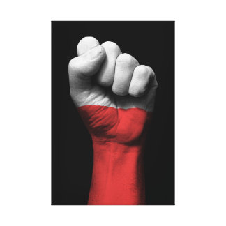 Raised Clenched Fist with Polish Flag Canvas Print