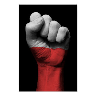Raised Clenched Fist with Polish Flag Poster