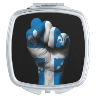 Raised Clenched Fist with Quebec Flag Compact Mirror