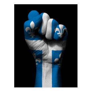 Raised Clenched Fist with Quebec Flag Postcard