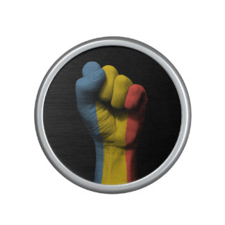 Raised Clenched Fist with Romanian Flag Bluetooth Speaker