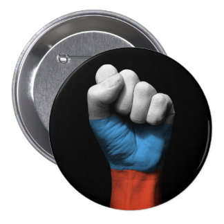 Raised Clenched Fist with Russian Flag 3 Inch Round Button