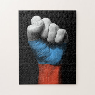 Raised Clenched Fist with Russian Flag Jigsaw Puzzle