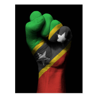 Raised Clenched Fist with Saint Kitts Flag Postcard