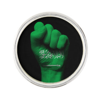 Raised Clenched Fist with Saudi Arabian Flag Pin