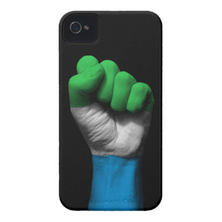 Raised Clenched Fist with Sierra Leone Flag iPhone 4 Case-Mate Case