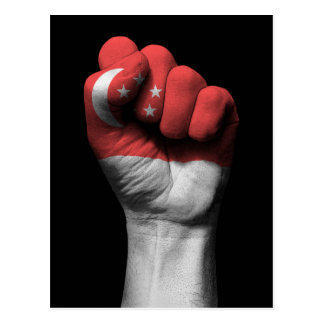 Raised Clenched Fist with Singapore Flag Postcard