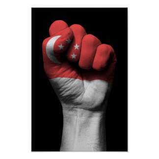 Raised Clenched Fist with Singapore Flag Poster