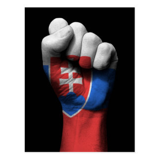 Raised Clenched Fist with Slovakian Flag Postcard