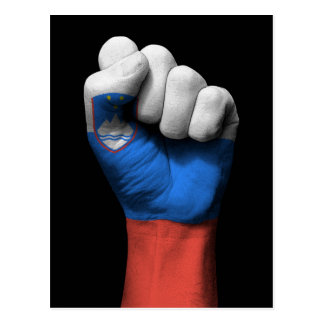 Raised Clenched Fist with Slovenian Flag Postcard