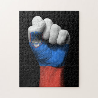 Raised Clenched Fist with Slovenian Flag Jigsaw Puzzles