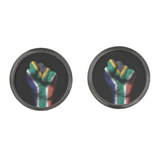 Raised Clenched Fist with South African Flag Gunmetal Finish Cufflinks