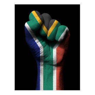 Raised Clenched Fist with South African Flag Postcard