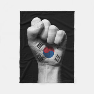 Raised Clenched Fist with South Korean Flag Fleece Blanket