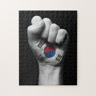 Raised Clenched Fist with South Korean Flag Puzzle