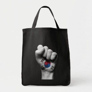 Raised Clenched Fist with South Korean Flag Tote Bag