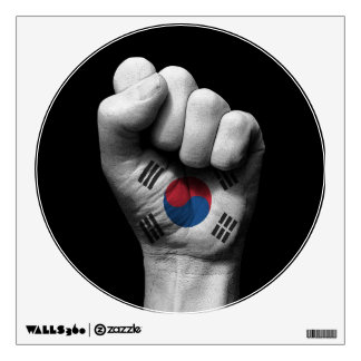 Raised Clenched Fist with South Korean Flag Wall Skins