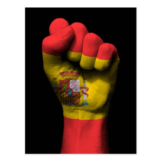 Raised Clenched Fist with Spanish Flag Postcard