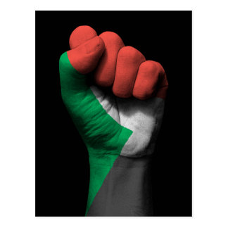 Raised Clenched Fist with Sudanese Flag Postcard
