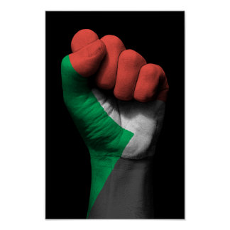 Raised Clenched Fist with Sudanese Flag Poster